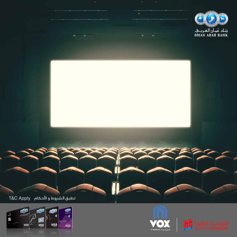Offer Get 50% off your movie tickets with OAB Visa Credit Card.Book online at VOX cinemas using your OAB Visa Platinum or Infinite Credit Card every Tuesday and Wednesday to avail the offer. To book, please visit https://oman.voxcinemas.com  Offer Details    Offer valid for OAB Visa Platinum and Infinite Credit cards.  Offer valid on a maximum of 6 tickets per session and 20 tickets per month   The offer is available on Tuesday and Wednesday showtimes only  The offer is available for Vox Cinemas 2D and 3D Standard, VIP, MAX, IMAX, and 4DX sessions   The offer is valid on City Cinemas 2D and 3D Shatti, Salalah, Salalah VIP, MGM, Azaiba, Azaiba premium, Ruwi, Ruwi Gold, Ruwi Platinum, Sohar, Buraimi and Sur and 3D only for MX4D and VIP(Panorama).  The offer is valid solely online purchases  The offer is not valid in conjunction with any special promotion, private screening or premiere at VOX Cinemas or City Cinemas in Oman  Tickets purchased on the date are non-refundable and non-transferable Offer valid until 30 September 2018. Terms and conditions apply.
